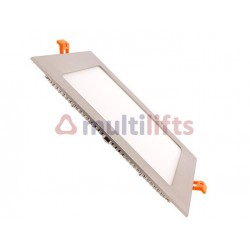 SQUARE LED PLATE 15W FRAME SILVER WHITE COLD