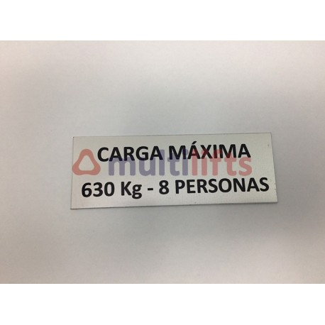 ROTULO ALUMINIO CARGA MAXIMA 630KG/8P