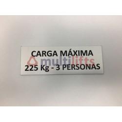 ROTULO ALUMINIO CARGA MAXIMA 225KG/3P