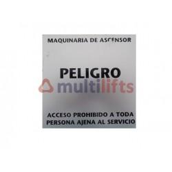 ROTULO ALUMINIO PELIGRO MAQUINARIA ASCENSOR