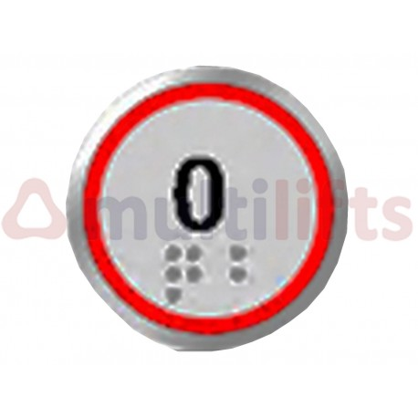 """PUSHBUTTON DMG ALO METALLIC COLOR, RED LED """"0"""" 2 MICROS 24V BRAILLE"""