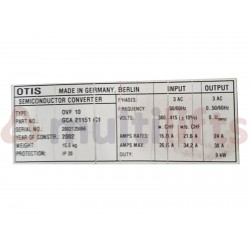 VARIADOR OTIS PARA OVF20 CR 9KW (PARA SUST. OV10)