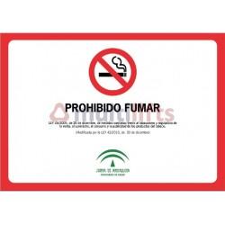 POSTER PROHIBITED SMOKING WITH LEGISLATION CARTEL GLASSP